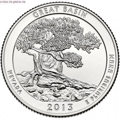 Национальный парк Грейт-Бейсин. 25 центов 2013 года США.  №18 (монетный двор Сан-Франциско)