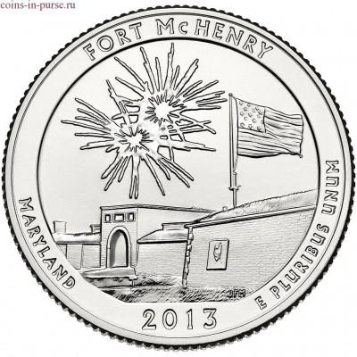Форт Мак-Генри. 25 центов 2013 года США.  №19 (монетный двор Сан-Франциско)