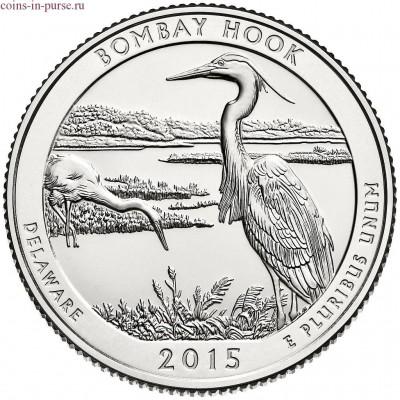 Национальное убежище дикой природы Бомбай-Хук. 25 центов 2015 года США.  №29 (монетный двор Сан-Франциско)