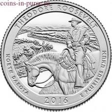 Национальный парк Теодора Рузвельта. 25 центов 2016 года США.  №34  (монетный двор Филадельфия)