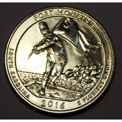 Форт Молтри. 25 центов 2016 года США.  №35  (монетный двор Филадельфия)