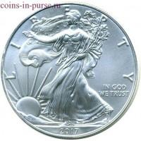 1 доллар США «Шагающая свобода» 1 унция серебра 2017 года. США