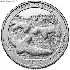 Эффиджи-Маундз (Effigy Mounds). 25 центов 2017 года США.  №36   (UNC)