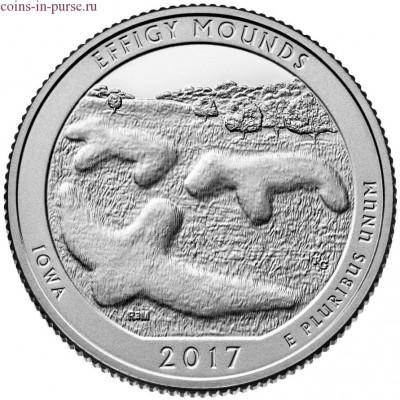 Эффиджи-Маундз (Effigy Mounds). 25 центов 2017 года США.  №36  (монетный двор Денвер)  (UNC)