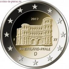 12-я монета серии «Федеральные земли Германии»: Рейнланд-Пфальц (Порта Нигра, г.Трир). 2 евро 2017 года. Германия  (UNC)