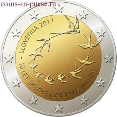 10-я годовщина евро в Словении. 2 евро. 2017 год. Словения  (UNC)