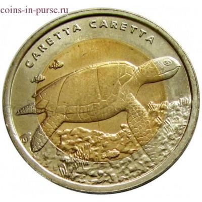 Черепаха. 1 лира 2009 года. Турция  (UNC)