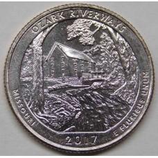Национальные водные пути Озарк. 25 центов 2017 года США.  №38 (UNC)