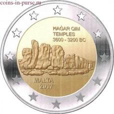Мегалитический комплекс Хаджар-Ким. 2 евро 2017 года.  Мальта (UNC)